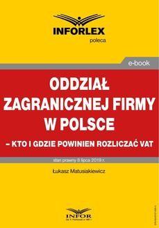 Ebook Oddział zagranicznej firmy w Polsce – kto i gdzie powinien rozliczać VAT pdf