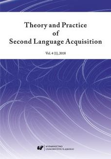 """Chomikuj, ebook online """"Theory and Practice of Second Language Acquisition"""" 2018. Vol. 4 (1). red. Danuta Gabryś-Barker"""
