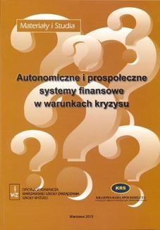 Ebook Autonomiczne i prospołeczne systemy finansowe w warunkach kryzysu pdf