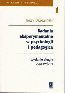Ebook Badania eksperymentalne w psychologii i pedagogice pdf