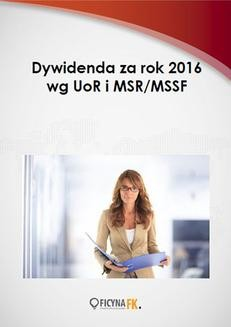 Ebook Dywidenda za rok 2016 wg UoR i MSR/MSSF pdf