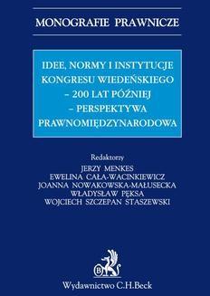 Ebook Idee normy i instytucje Kongresu Wiedeńskiego – 200 lat później – perspektywa międzynarodowa pdf