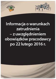 Chomikuj, ebook online Informacja o warunkach zatrudnienia – z uwzględnieniem obowiązków pracodawcy po 22 lutego 2016 r.. Szymon Sokolik