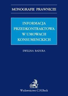 Ebook Informacja przedkontraktowa w umowach konsumenckich pdf
