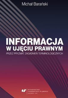Ebook Informacja w ujęciu prawnym przez pryzmat zagadnień terminologicznych pdf