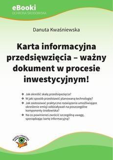 Chomikuj, ebook online Karta informacyjna przedsięwzięcia – ważny dokument w procesie inwestycyjnym. Danuta Kwaśniewska