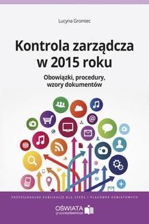 Ebook Kontrola zarządcza w 2015 roku pdf