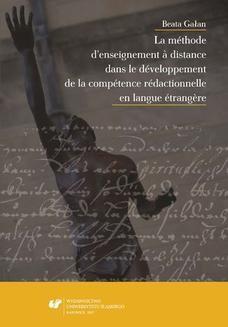 Chomikuj, ebook online La méthode d'enseignement à distance dans le développement de la compétence rédactionnelle en langue étrangère. Beata Gałan