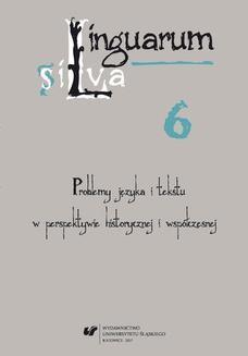 Chomikuj, ebook online Linguarum silva. T. 6: Problemy języka i tekstu w perspektywie historycznej i współczesnej. red. Barbara Mitrenga