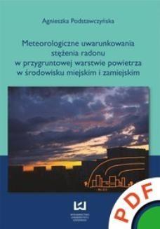 Ebook Meteorologiczne uwarunkowania stężenia radonu w przygruntowej warstwie powietrza w środowisku miejskim i zamiejskim pdf
