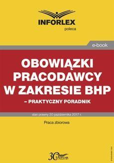 Ebook Obowiązki pracodawcy w zakresie BHP – praktyczny poradnik pdf