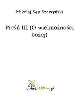 Ebook Pieśń III (O wielmożności bożej) pdf