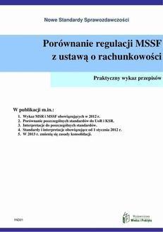 Chomikuj, ebook online Porównanie regulacji MSSF z ustawą o rachunkowości. Praca zbiorowa