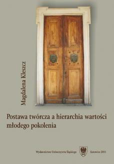 Chomikuj, ebook online Postawa twórcza a hierarchia wartości młodego pokolenia. Magdalena Kleszcz