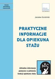 Chomikuj, ebook online Praktyczne informacje dla opiekuna stażu. Jarosław Kordziński