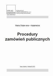 Chomikuj, ebook online Procedury zamówień publicznych. Maria Olszewska-Kazanecka