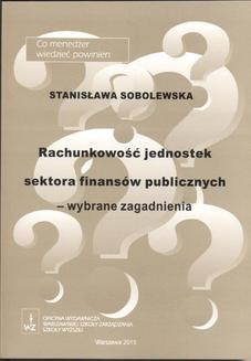Ebook Rachunkowość jednostek sektora finansów publicznych – wybrane zagadnienia pdf