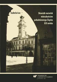 Chomikuj, ebook online Słownik nazwisk mieszkańców południowego Śląska XIX wieku. Izabela Łuc