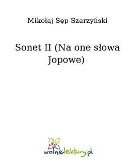 Chomikuj, ebook online Sonet II (Na one słowa Jopowe). Mikołaj Sęp Szarzyński