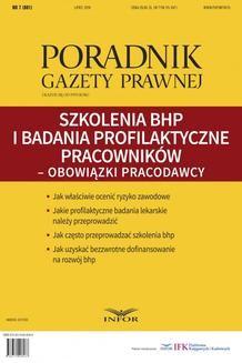 Chomikuj, ebook online Szkolenia BHP i badania profilaktyczne pracowników – obowiązki pracodawcy (Poradnik Gazety Prawnej). Praca zbiorowa
