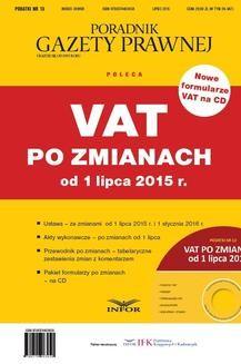 Chomikuj, ebook online VAT po zmianach od 1 lipca 2015 r.. Praca zbiorowa