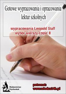 """Ebook Wypracowania – Leopold Staff """"Wybór wierszy – Część II"""" pdf"""