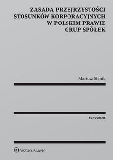 Ebook Zasada przejrzystości stosunków korporacyjnych w polskim prawie grup spółek pdf