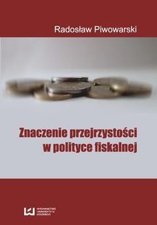 Ebook Znaczenie przejrzystości w polityce fiskalnej pdf