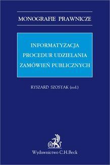 Ebook Informatyzacja procedur udzielania zamówień publicznych pdf